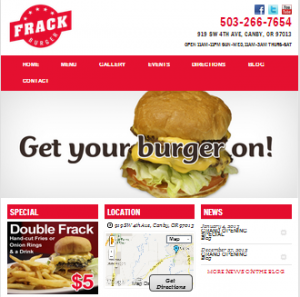 Frack Burger Portland Restaurant Website Design