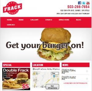 Frack Burger Portland Restaurant Website Design