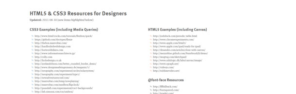 HTML5 & CSS3 Resources for Designers