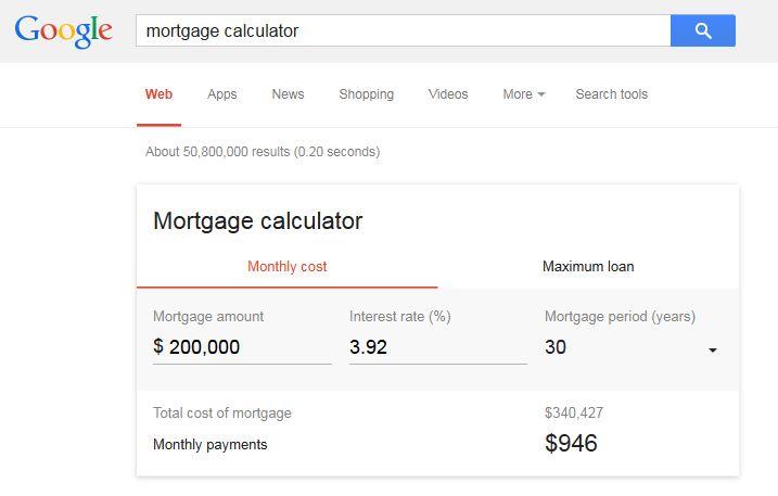 Google Mortgage Calculator - 1