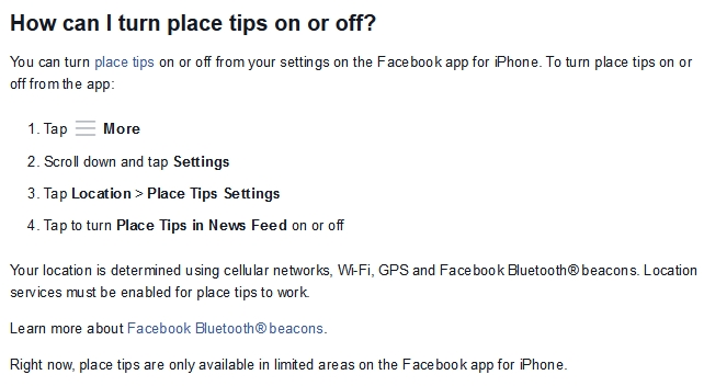 How to turn off Facebook Place Tips