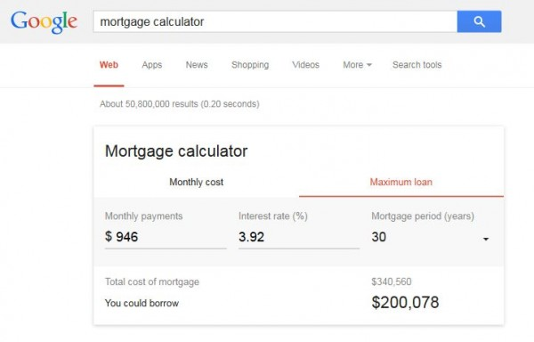 New Mortgage Calculator on Google
