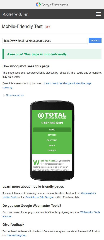 Google Mobile Friendly Webmaster Test