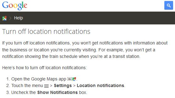 How to turn off location notifications