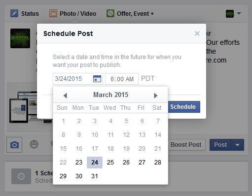 Scheduling Facebook business page post