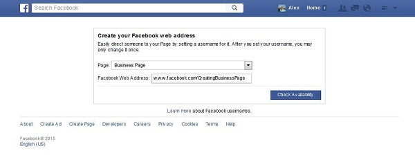 Create your Facebook web address for business page