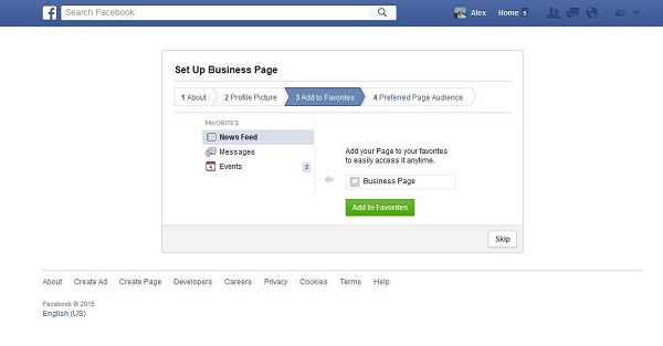 Facebook Business Page Favorites