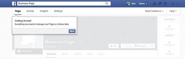 Facebook Business Page Navigation